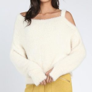 Honey Punch Boutique Fuzzy Cold Shoulder Sweater